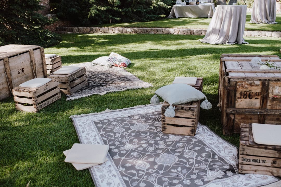 wedding chill out decoration in a rustic finca at Mallorca
