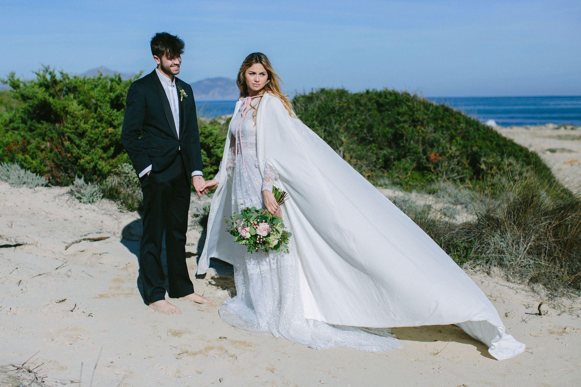 winter wedding dress for bride in Mallorca