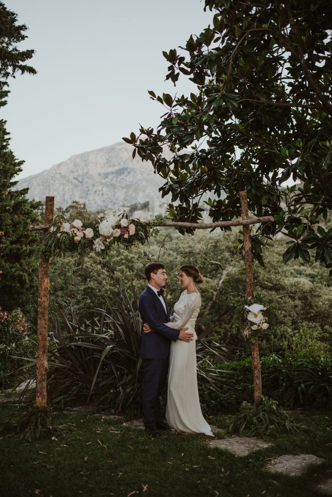 rustic ceremony arch for ceremony in the mountains of Mortitx Mallorca