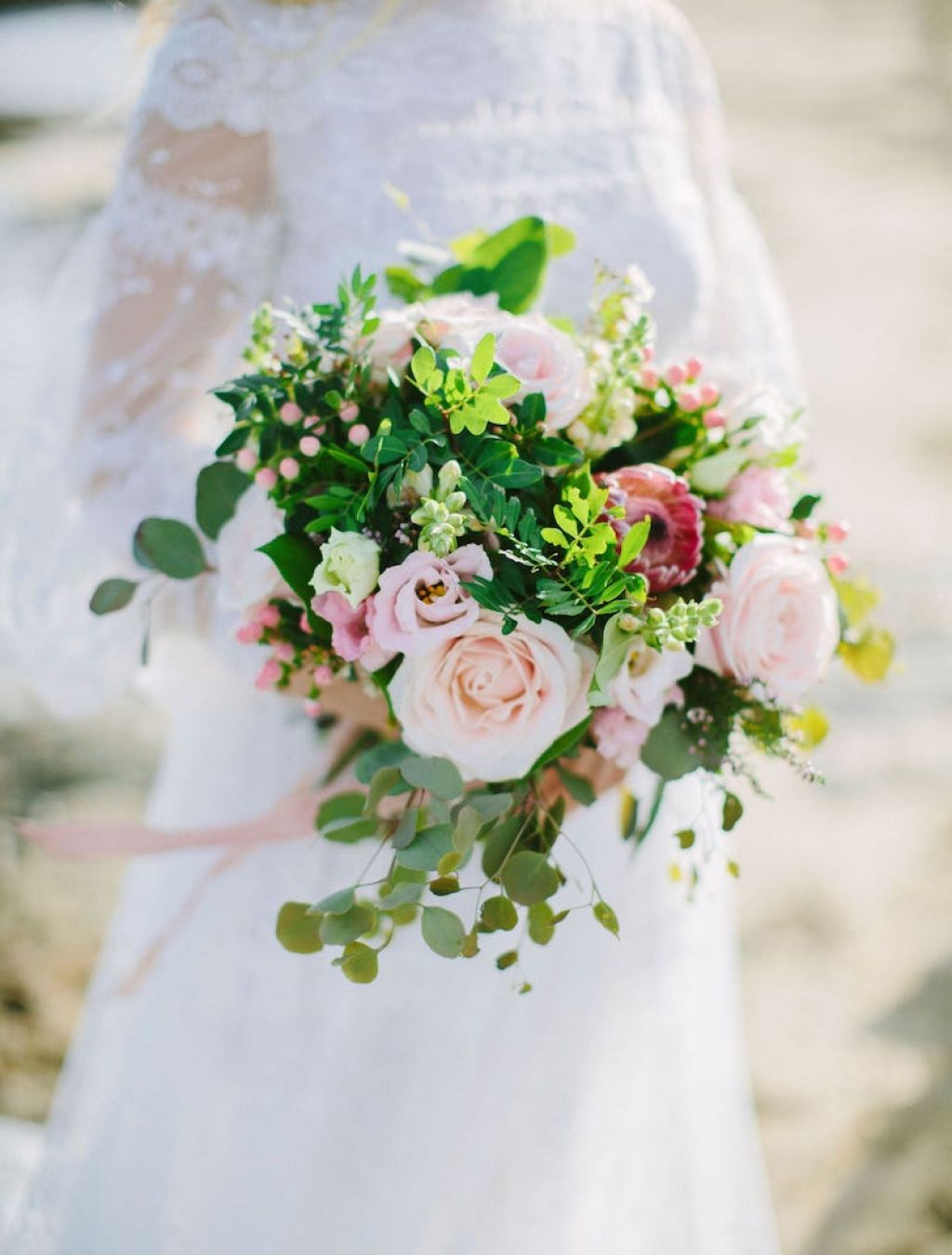 wedding bride bouquet with flowers, wedding dress for wedding in Mallorca