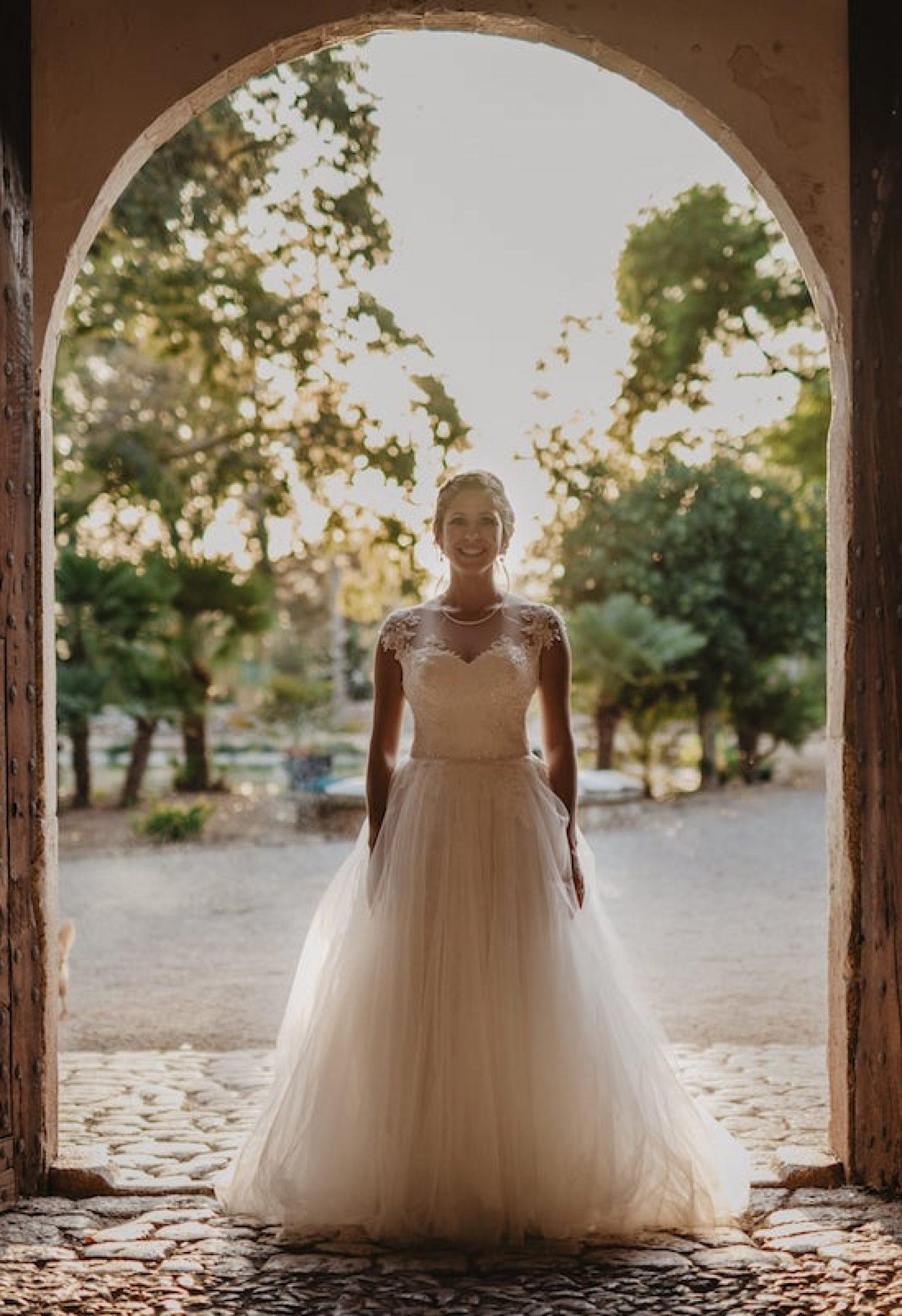 wedding dress bride bouquet finca mallorca