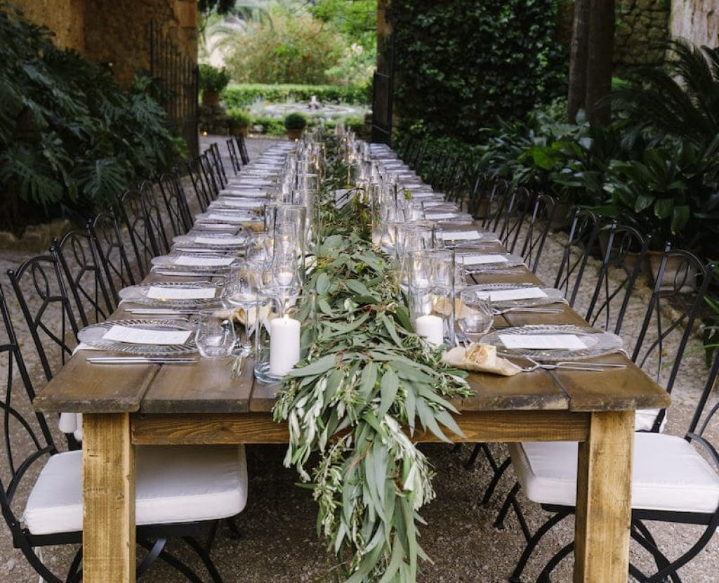rustic wedding decoration for Es Fangar Mallorca
