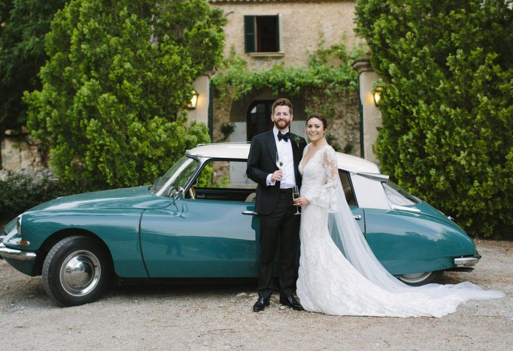 Wedding with a classic car