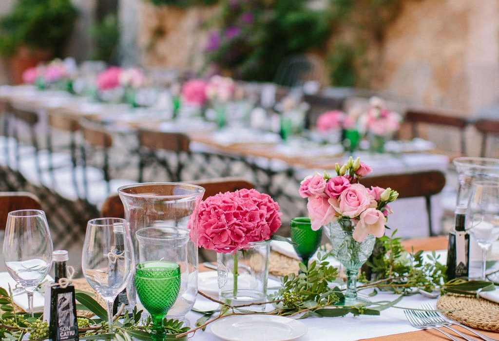 flower decoration wedding gift rustic setting in the courtyard of Alaiar Mallorca